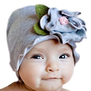 Amazon.com   Infant Baby Girls Soft Cotton Beanie Flower Hat Toddler Cap  (gray)   Baby 197d7452975