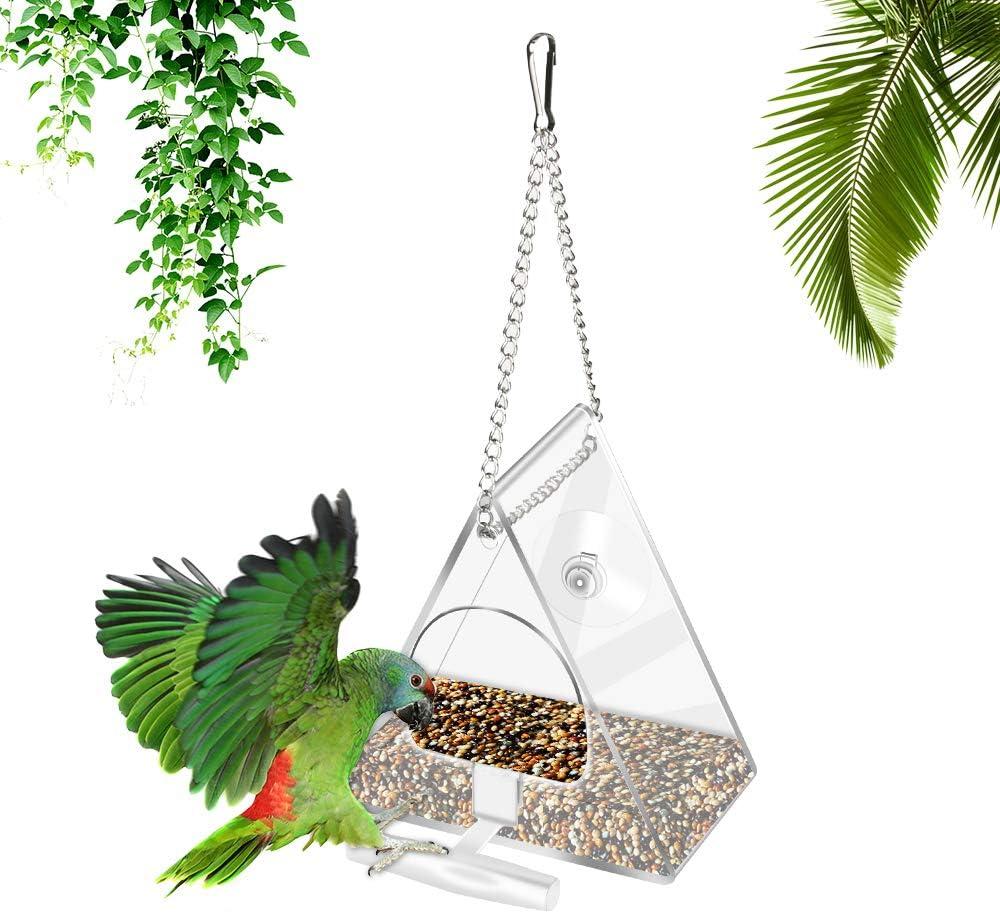 Ventosa e Catena appesa Acrilico Finestra Uccello alimentatori Esterna Bird House Fuori Feeder Backyard Garden per Finestra yideng Bird Feeder con Pesce persico Stand