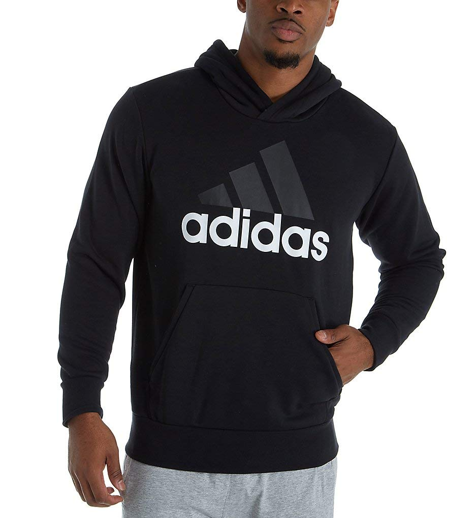 adidas Men's Athletics Essentials Linear Pullover Hoodie, Black, X-Large by adidas
