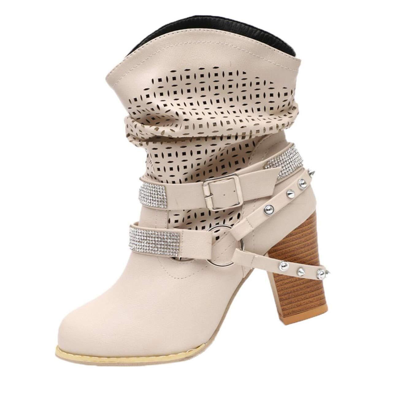Chaussures Femme Femmes Automne Hiver Creux Cheville Bottines Dames Talon Demi Martin Bottes Chaussures HCFKJ-Js
