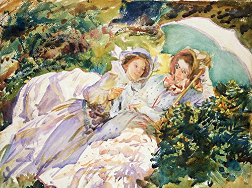 (100% Genuine Real Hand Painted Portraits Young Women in Summer Landscape with Parasol Canvas Oil Painting for Home Wall Art Decoration, Not a Print/ Giclee/ Poster, FRAMED, READY TO HANG)