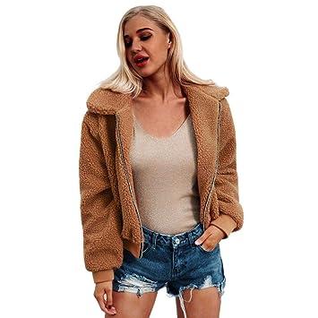 3ac38d05b0ac Manteau Femme Hiver Faux Laine - Casual Jacket Court Chaud en Peau de  Mouton Veste Gaki