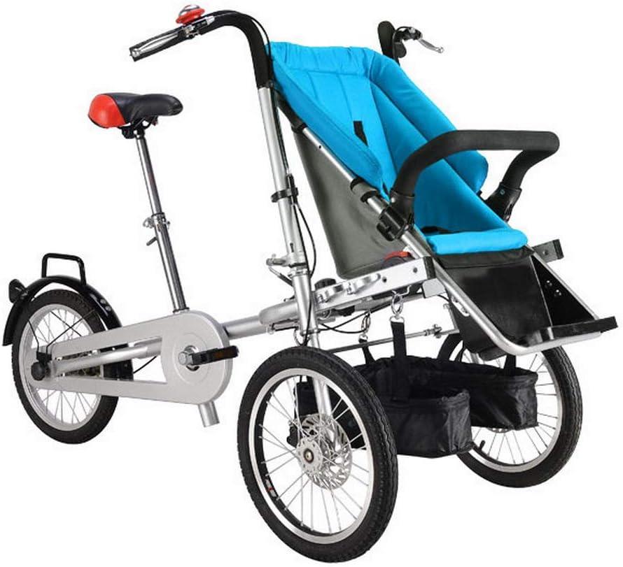 HEA GH 折りたたみ式3輪自転車 大人と赤ちゃん用 親子自転車 2イン1 ベビーカー自転車 母とベビーカーバイク 三輪車ベビーカー ベビー&ママ自転車 コンバーチブルバイク ブルー