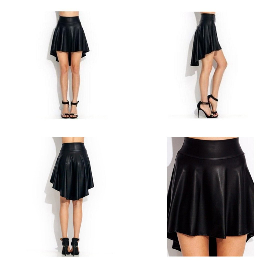 Plus Size High Waist High Low Sleek Fashion Faux Leather Skater Flared Skirt