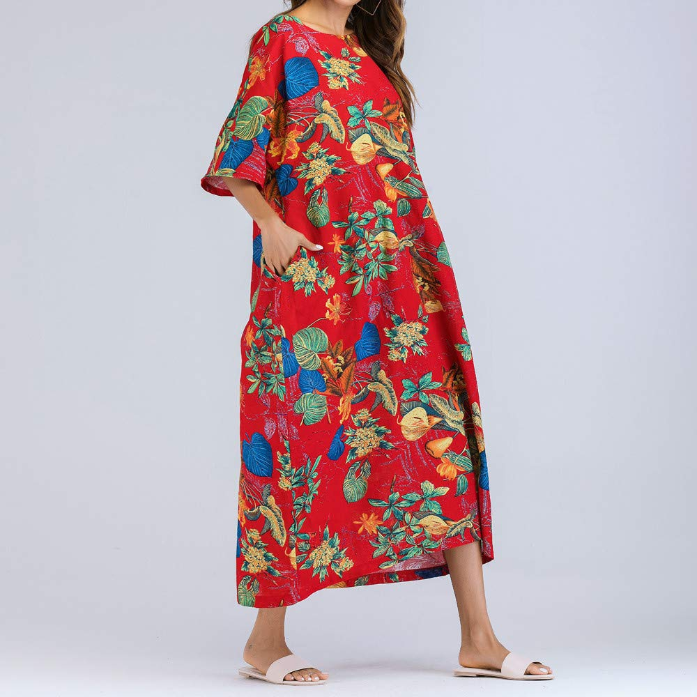 AMSKY Dresses Jeans,Women Half Sleeve Ruched Casual Thin Floral Cotton Loose Bohe Long Dress Kaftan,Leggings,Red,L