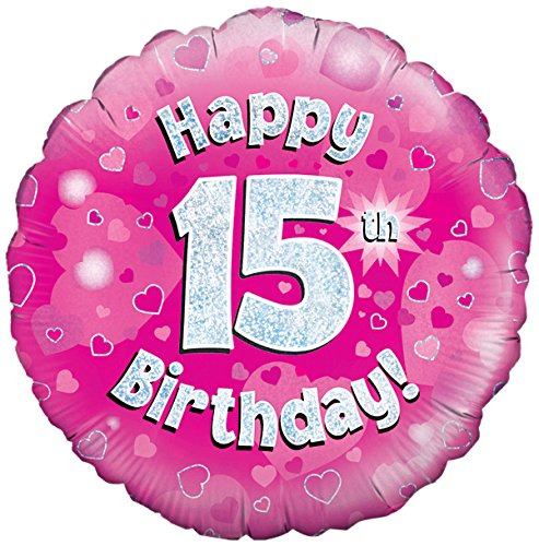 Oaktree Uk 18-inch Happy 15th Birthday Holographic Foil Design Balloons, Pink (Party Supplies Uk)