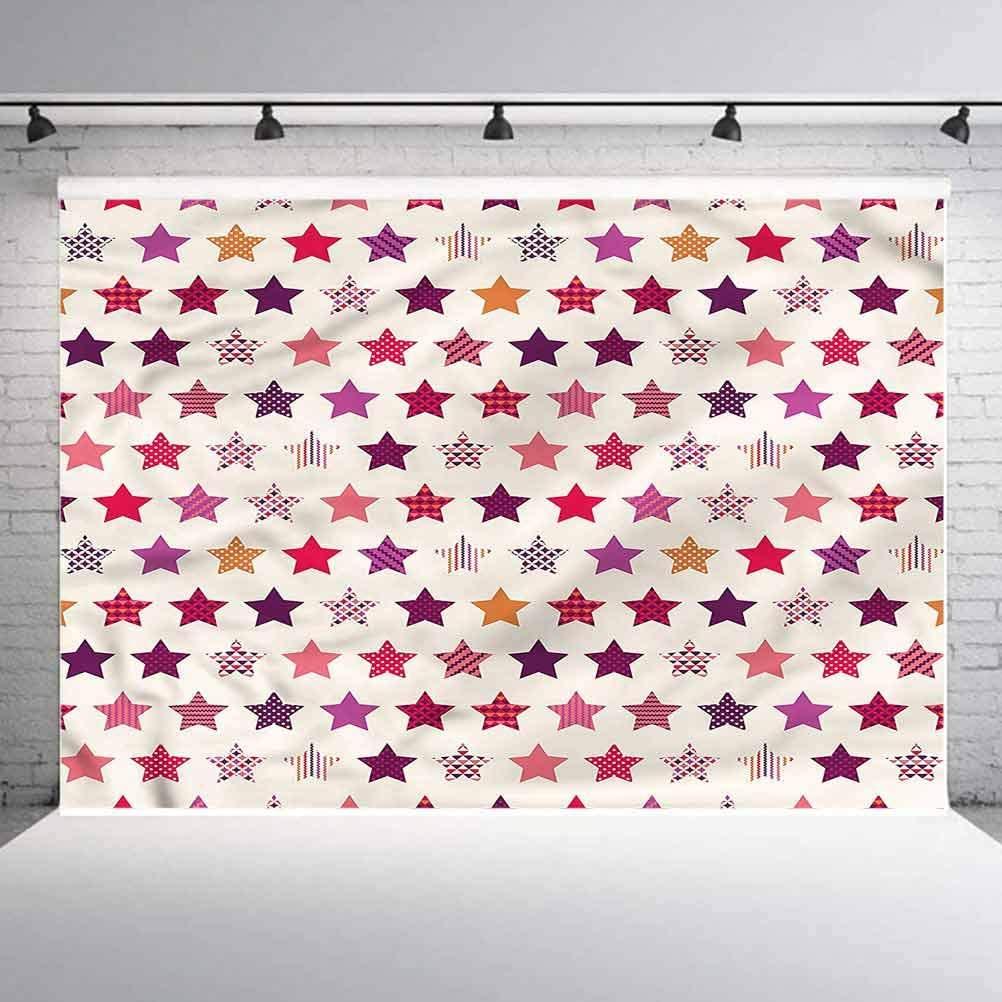 5x5FT Vinyl Photography Backdrop,Modern,Colorful Stars Ornaments Photoshoot Props Photo Background Studio Prop