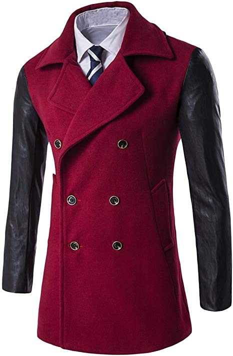 Sumen Men Stylish Trench Coat Classic Notched Collar Double Breasted Pea Coat