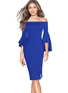 1d45d2d80e9 VfEmage Womens Elegant Bell Sleeve Wear to Work Party Cocktail Sheath Dress