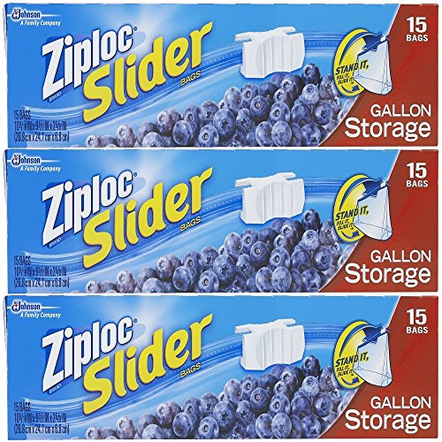 Ziploc Slider Storage Bags Gallon, 15 Count (Pack of 3)
