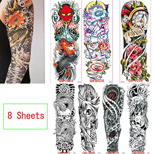 AORAEM 8 Sheets Extra Temporary Tattoo,Full Arm Sleeve Skull Gun Rose Flash Tattoo,Easy to Apply and Long Lasting for Women Men (#3)