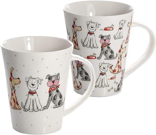Juego 2 tazas de desayuno de cáramica porcelana para café té, grandes decorativas diseño de perro animales regalo: Amazon.es: Hogar