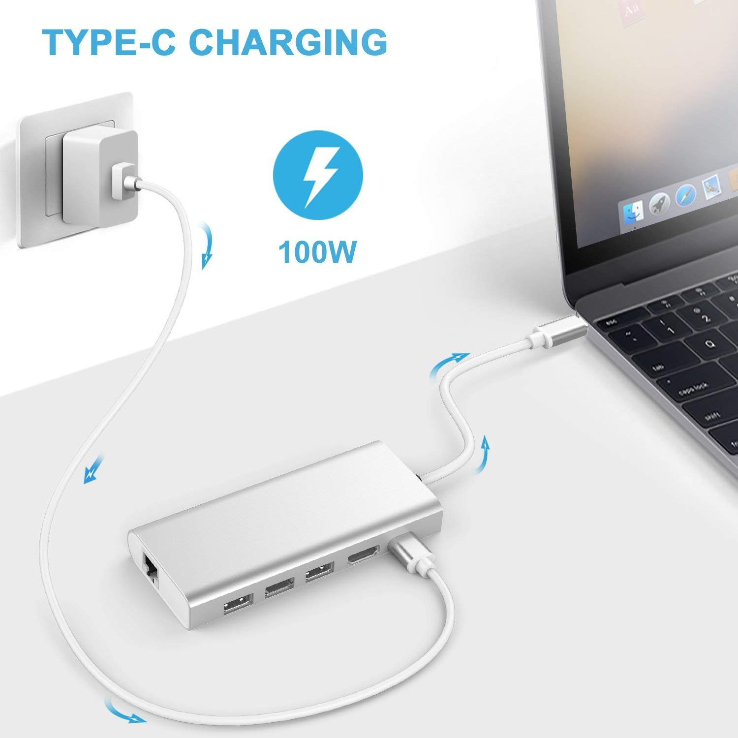 USB C Hub for Mackbook Pro / HP / Dell XPS - Multiport 6 in 1 Type C Hub Adapter with 4k HDMI VGA Display, Gigabit Ethernet, 3 USB 3.0 Ports, Type C Charging Port - Aluminum Grey