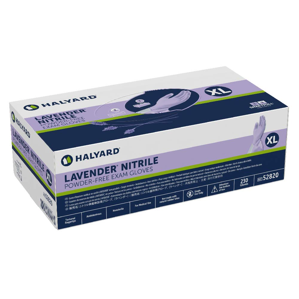 Powder-Free X-Large HALYARD Lavender Nitrile Exam Gloves 52820 Box of 230 3.1 mil