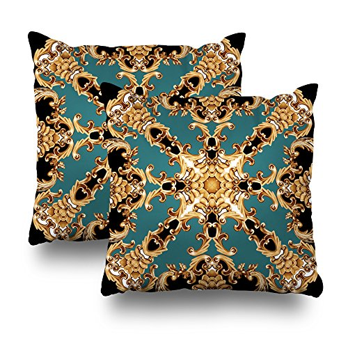 ONELZ Golden Baroque Ornament Square Decorative Throw Pillowcase Two Sides Printed, Fashion Style Zippered Cushion Pillow Cover(18 x 18 inch,Set of 2) - Chain 50 Golden Baroque