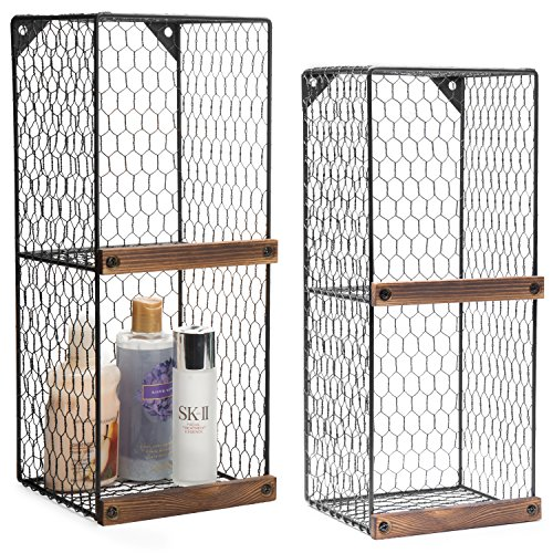 MyGift Set of 2 Wall-Mountable 2-Tier Chicken Wire Storage Shelves with Wood Ledges, Farmhouse Basket Bins (Wall Country Baskets)