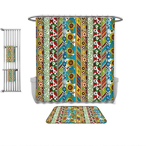 QINYAN-Home Decorate The Bathroom Striped Colorful Summer Spring Retro Patchwork Style Pattern Sunflowers Butterflies Strawberry Multicolor, Prints Decorate The Bathroom-Multiple -