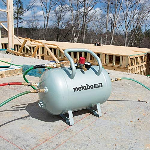 Metabo HPT Air Tank | Five Quick Connect Couplers | 10-Gallon Capacity | ASME Certified | UA3810AB