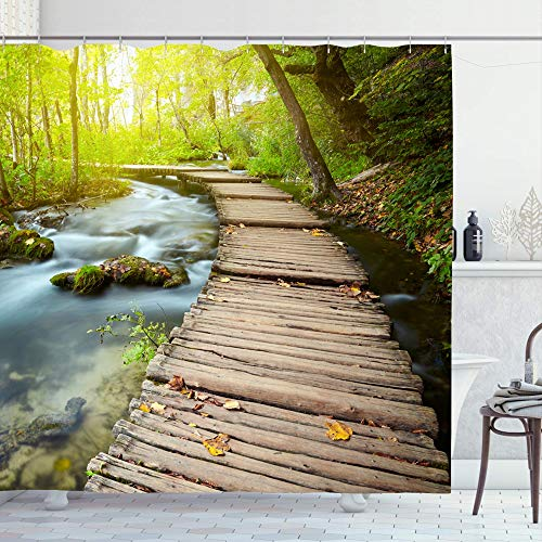 Ahawoso Shower Curtain Set with Hooks 66x72 River Tree Natural Boardwalk Park -
