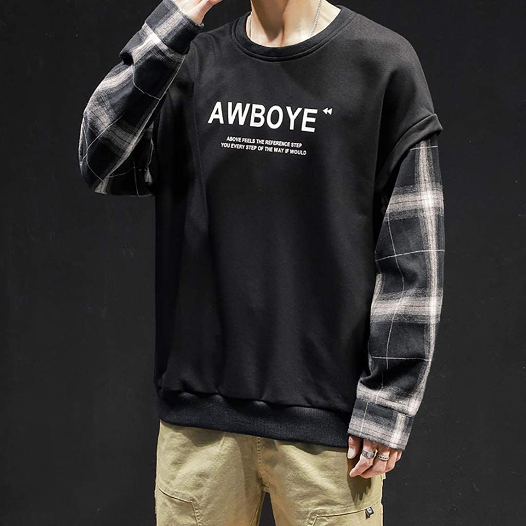 iOPQO Mens Lightweight Pullover Fake Two Pieces Plaid Long Sleeve Hip Hop Tops Sweatshirt