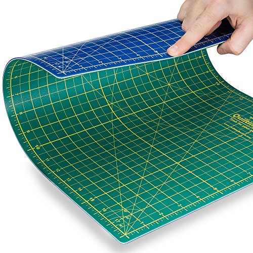 """Quilting Bee 9""""x12"""" 2-in-1 (Green/Blue) Self-Healing Cutting Mat for quilting, crafts and scrapbooking. Use with..."""