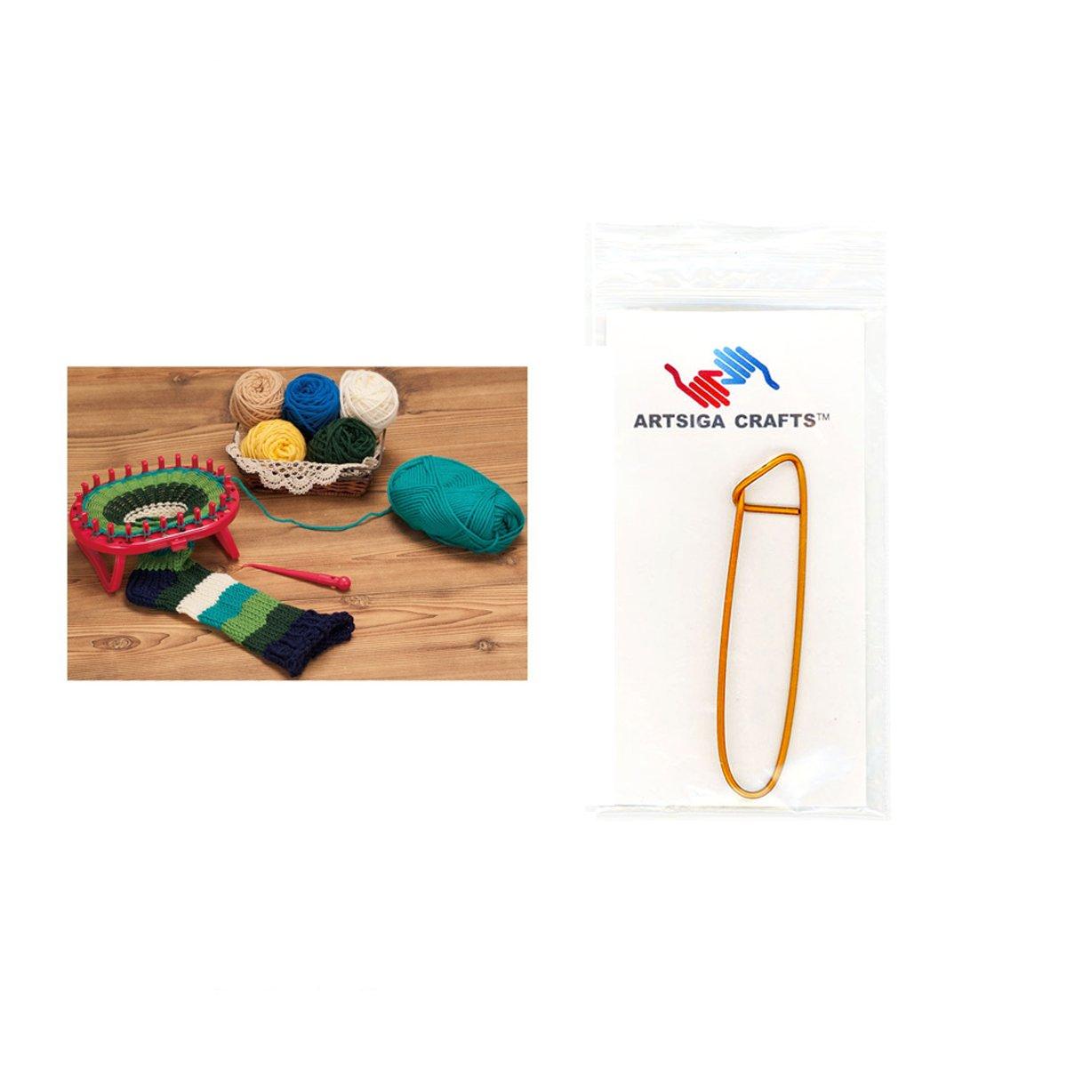 Clover Needlecraft Standing Oval Knitting Loom Bundle with 1 Artsiga Crafts Stitch Holder 3178