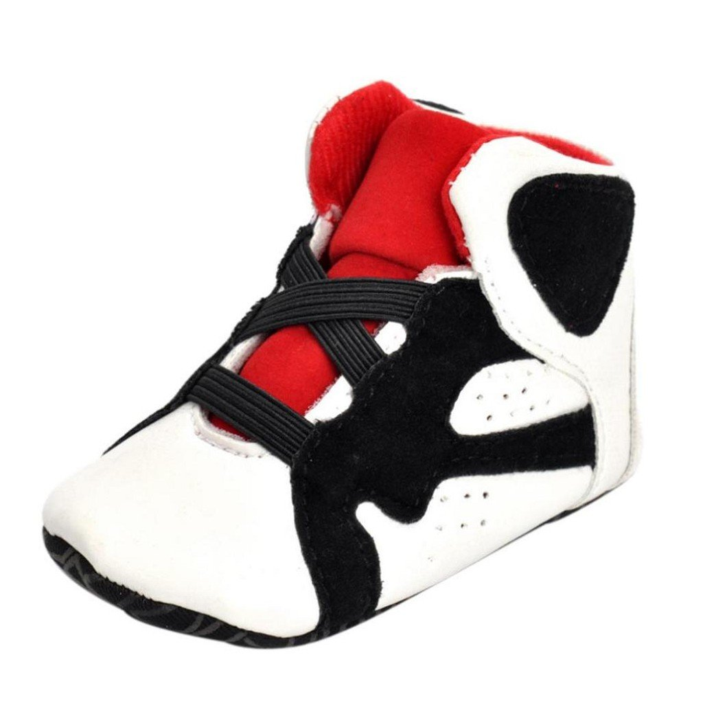Creazrise Newborn Infant Kid Girls Boys Crib Shoes Soft Sole Anti-Slip Baby Sneakers Shoes (0~6 Month, White)
