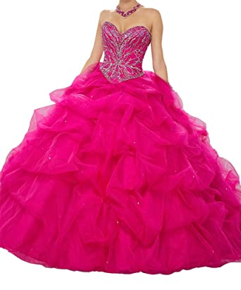 e4352d3d98 Yang Sweetheart Women Beaded Ball Gowns Girls Vestido de quinceañera Dress  0 US Fuchsia