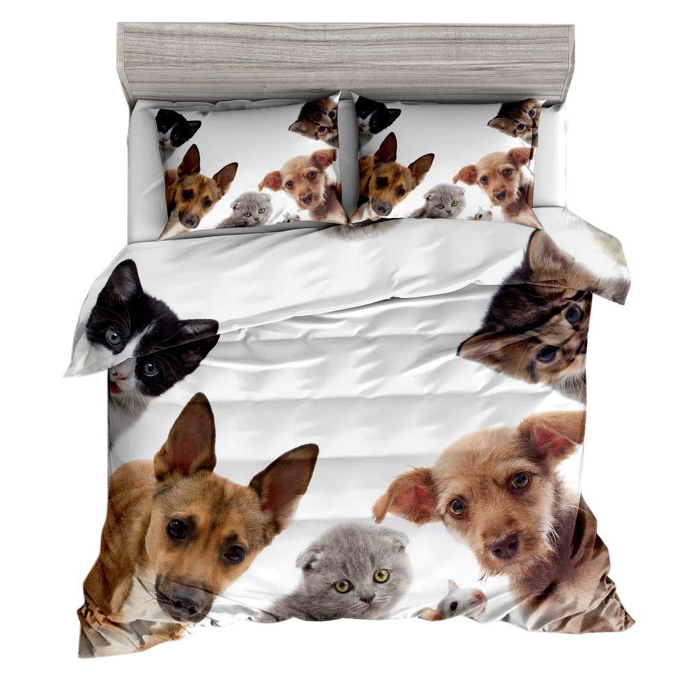 Jwellking 3D 猫と犬 ツインサイズ 子供用寝具セット 猫と犬 ファミリープリント ホワイト掛け布団カバー3点セット 掛け布団カバー1枚 動物柄枕カバー2枚 掛け布団は含みません ツイン B07LD6YN1V Xc-149 ツイン