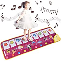 """ALANGDUO Kids Musical Mats, Music Piano Keyboard Dance Floor Mat Animal Carpet Blanket Touch Playmat Early Education Toys for Toddlers Girls Boys 39""""X14"""" (Purple)"""
