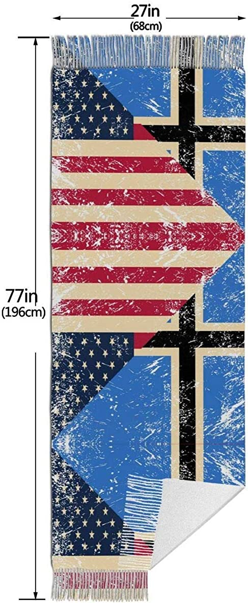 USA and Estonia Vintage Flag Cashmere Scarf Shawl Wraps Super Soft Warm Tassel Scarves For Women Office Worker Travel