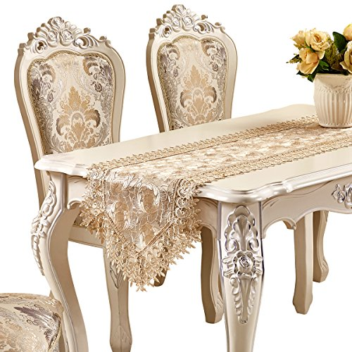 Adasmile Handmade Hemstitched Embroidered Floral Lace Dresser Scarves Table Runner (78.7inchX17.7inch/220cmX40cm, Champagne 12) (Outdoor Dresser)