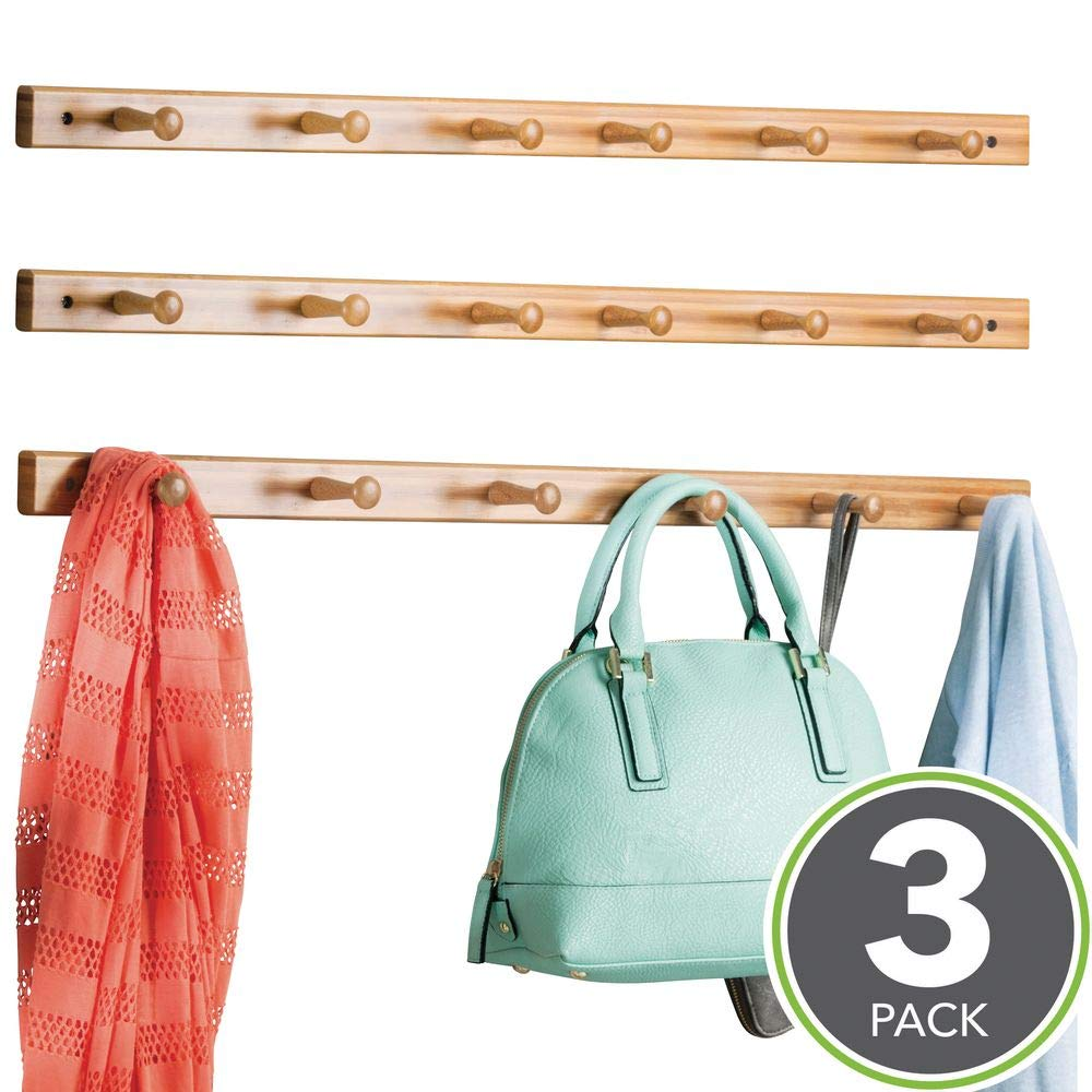 Bath Towels /& Robes Scarves Leashes Hoodies mDesign Decorative Bamboo Wall Mount 6 Hook Storage Organizer Rack for Coats Hats Natural Wood Finish 3 Pack Purses