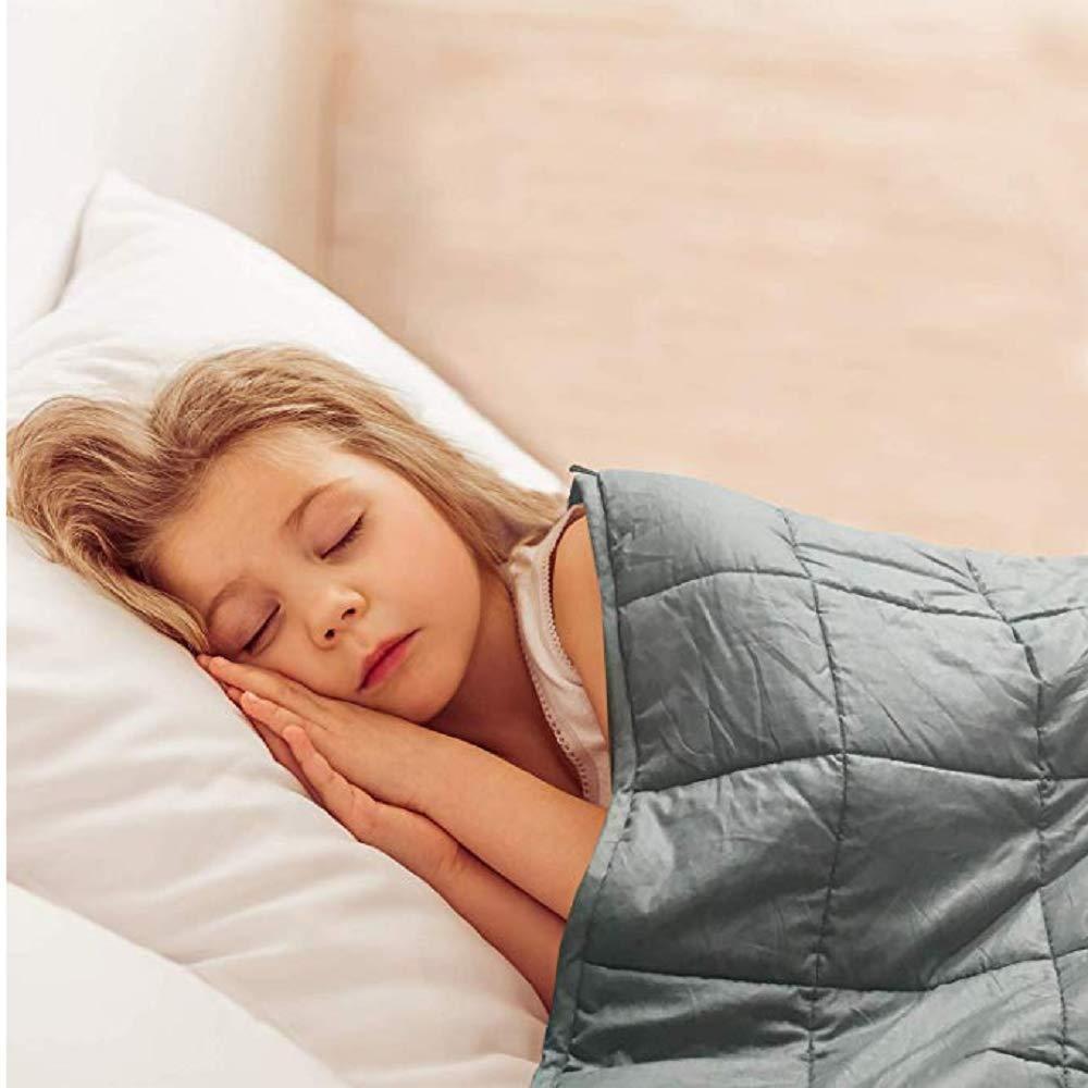 Kids Weighted Blanket 5lbs (36''x48'' Dark Grey)   Heavy Blanket   Better Deeper Sleep   100% Cotton with Glass Beads. Kawaii_Kids