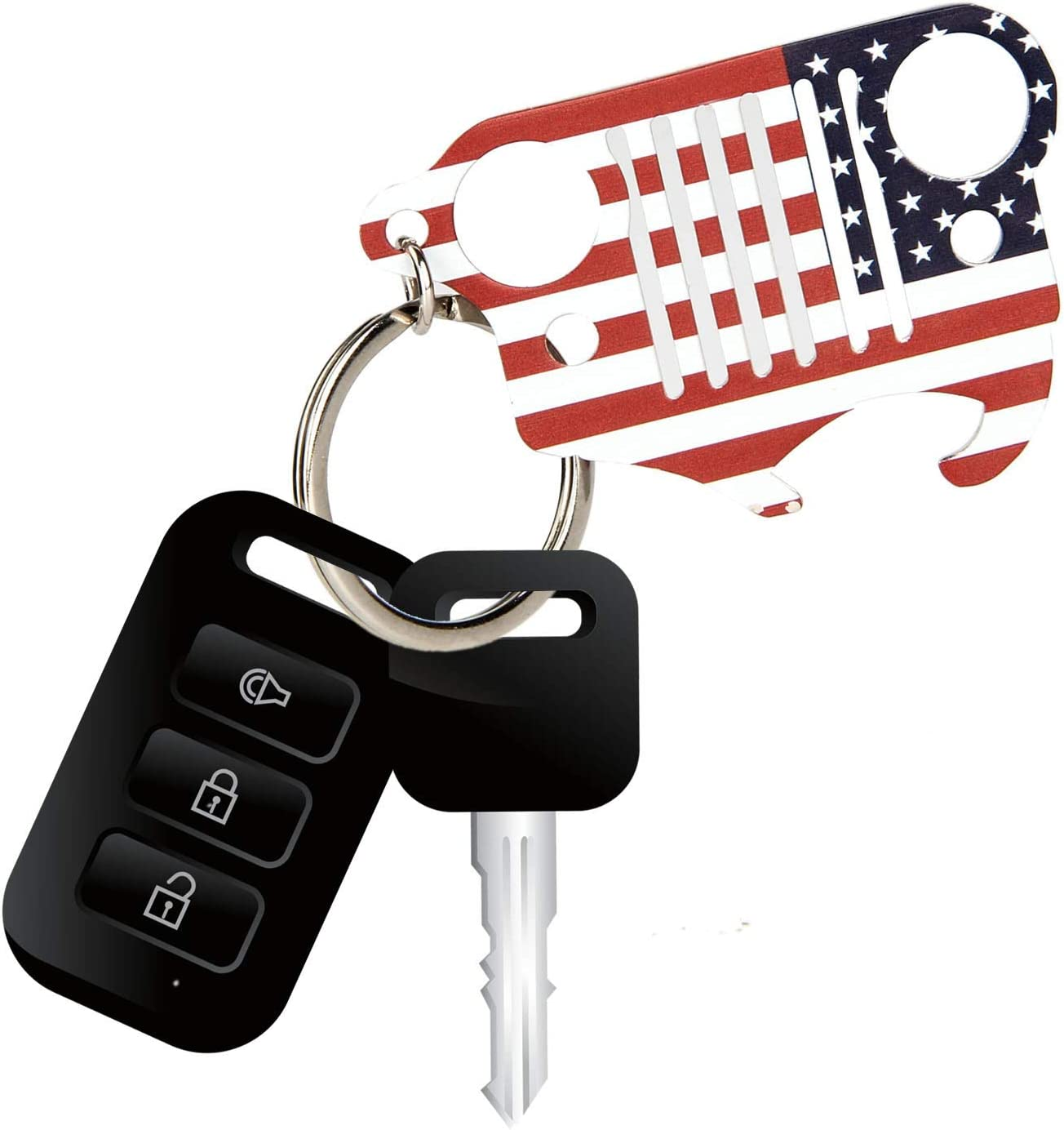 EVAPLUS Car Key Ring with Bottle Opener for Jeep Wrangler Accessories American Flag