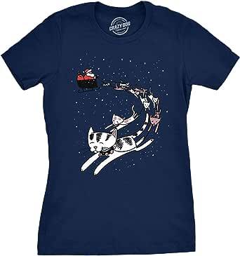 Womens Cat Reindeer Sleigh Tshirt Funny Santa Christmas Holiday Party Tee