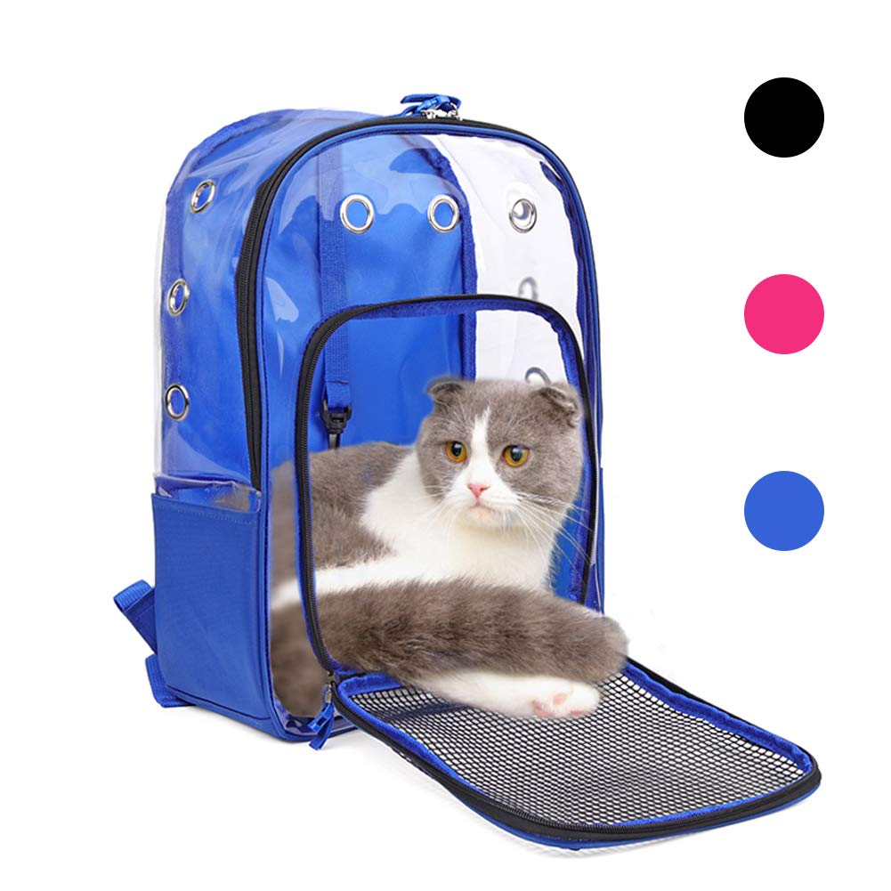 bluee YUDODO bluee Pet Clear Carrier Backpack Adjustable Transparent Pet Cat Dog Backpack Carrier Travel Bag for Small Animals, Designed for Walking, Outdoor Use