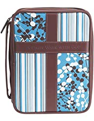 Blue and White 8.5 x 10.8 inch Leather Like Vinyl Bible Cover Case with Handle Large