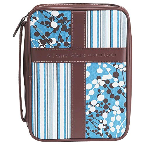 Blue and White 8.5 x 10.8 inch Leather Like Vinyl Bible Cover Case with Handle Large ()