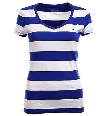 Tommy Hilfiger Damen V - Neck Shirt T-Shirt Damenshirt royalblau gestreift  Größe S ea5fc0fe3e