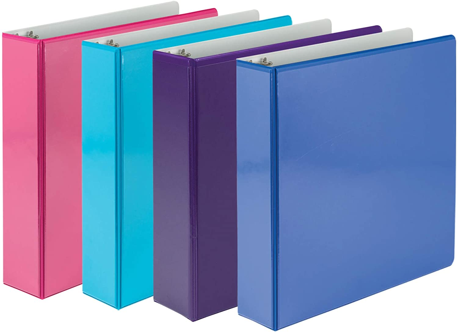 Samsill 3 Ring Binder, Clear View 2 Inch Binder, 4 Pack Heavy Duty Three Ring Binders, Two-Tone Color Assorted Pack for Home, Office, and School Supplies, Designed for 8.5 Inch X 11 Inch Paper,