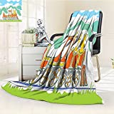 YOYI-HOME Duplex Printed Blanket Custom Design Cozy Fleece Blanket Steam Engine Colorful Small Old Train in Country Retro Kids Art Vintage Print Green Blue Orange Perfect for Couch Sofa/W59 x H47