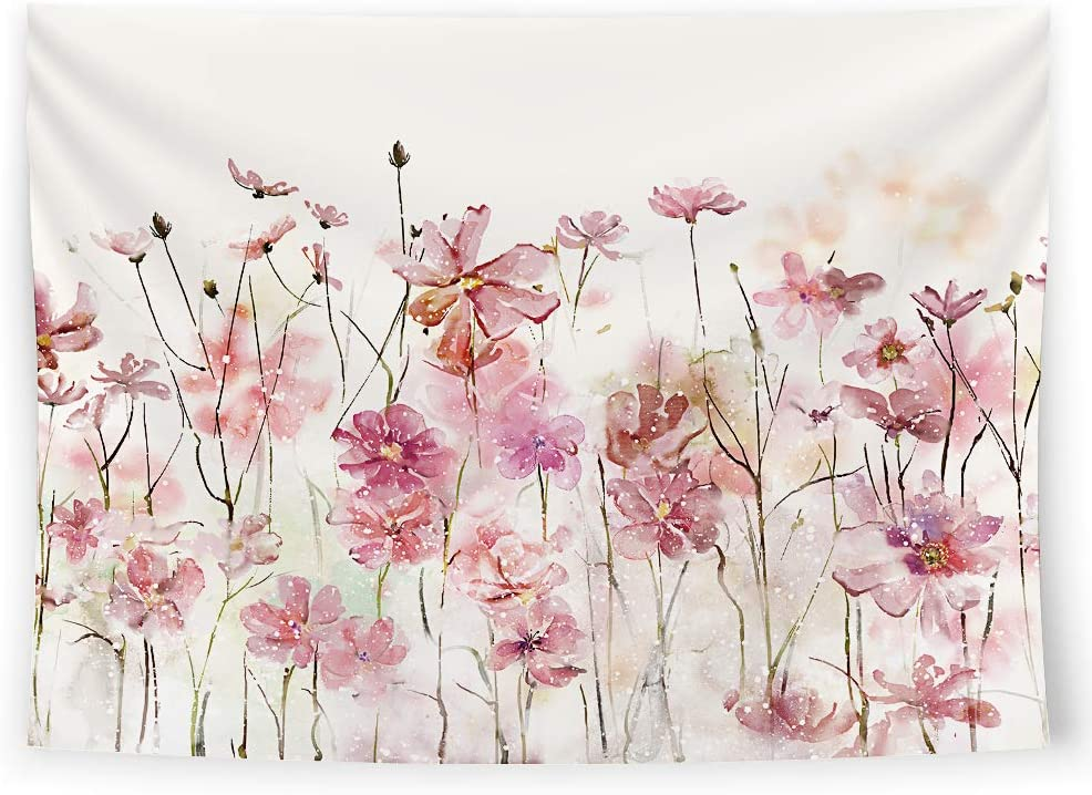 SUMGAR Pink Flowers Tapestry Wall Hanging Romantic Floral Wildflower Plants Nature Scenery Tapestries Decoration for Bedroom Living Room, 80 x 60 inch