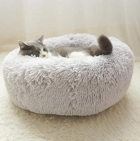 YOHAPPY Cama para Mascotas para Gatos y Perros, Cama para Perros Redonda súper Suave Cama Ovalada con Forma de Dona Cueva para Gatos y Perros pequeños ...