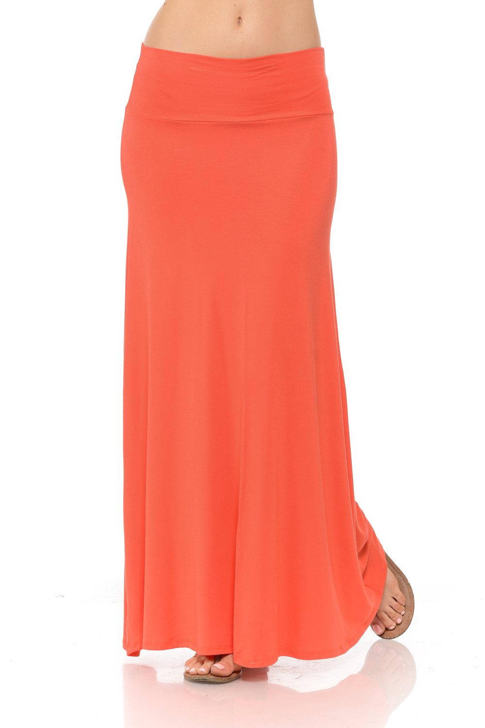Shamaim Womens Fold Over Maxi Long Skirt Coral XXX-Large