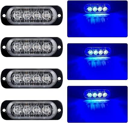 4 LED 12V//24V STROBE LIGHT BLUE