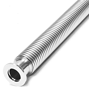 KF-25 Vacuum Corrugated Bellows Pipe Tube FACTRYOLET-US Metal Bellows Hose Fit for ISO-KF Flange Size NW-25 (300mm/11.81 inch)