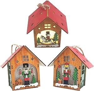 DEUXPER 3 Packs Nutcracker Christmas Ornaments Lights Mini Wood House - Indoor Xmas Decor - Christmas Tree Decoration, Warm Light (Small-A)