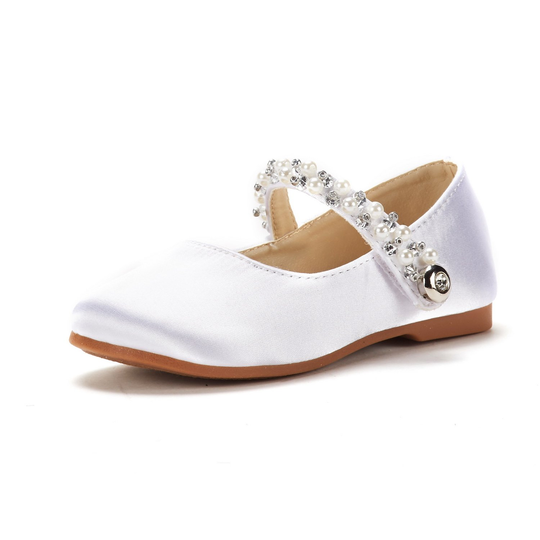 DREAM PAIRS Toddler Aurora_01 White Girl's Mary Jane Ballerina Flat Shoes Size 9 M US Toddler
