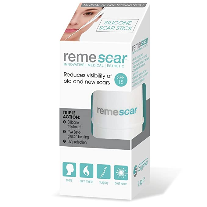 Remescar | Stick de silicona para cicatrices | Tratamiento de cicatrices nuevas y antiguas | Protección ultravioleta| Tratamiento de gel de silicona ...